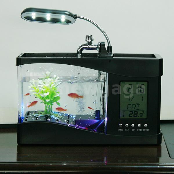 USB Desktop Aquarium Mini Fish Tank Calendar Clock LED Light Black NG ...