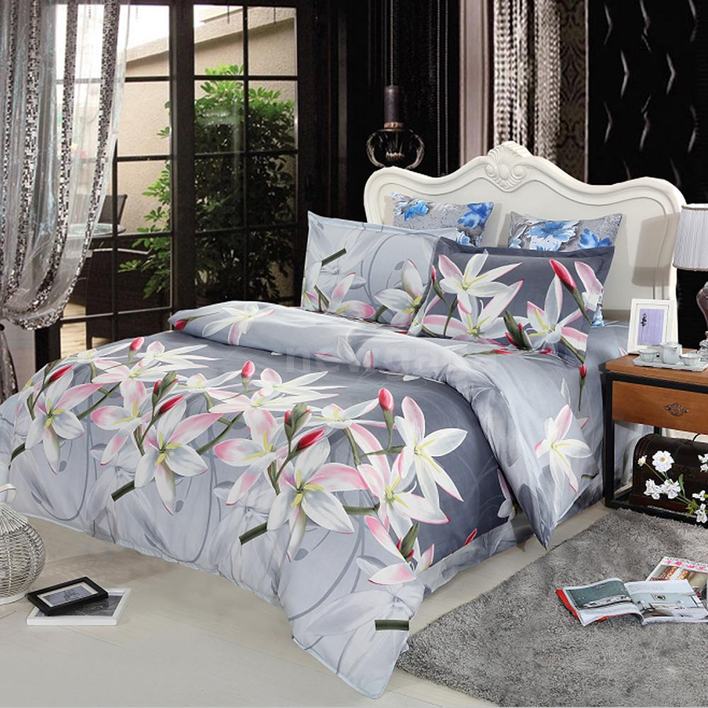 3d white lily queen bedding set flower print comforter set - Housse de couette 3d ...