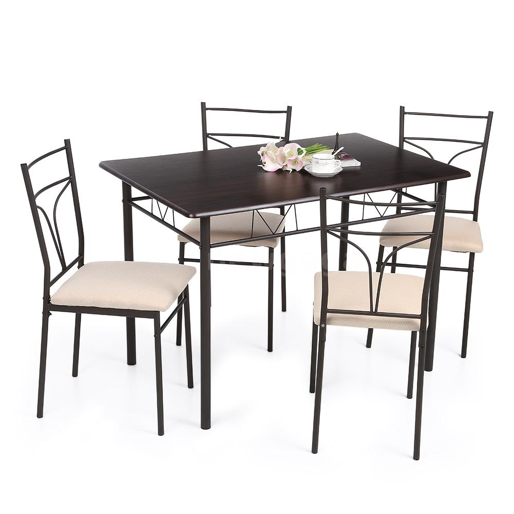 4 chairs 5 piece metal dining table set kitchen room for 4 dining room table