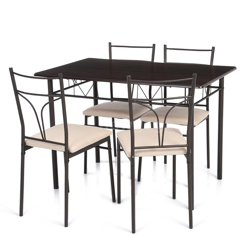 chairs 5 piece metal dining table set kitchen room breakfast