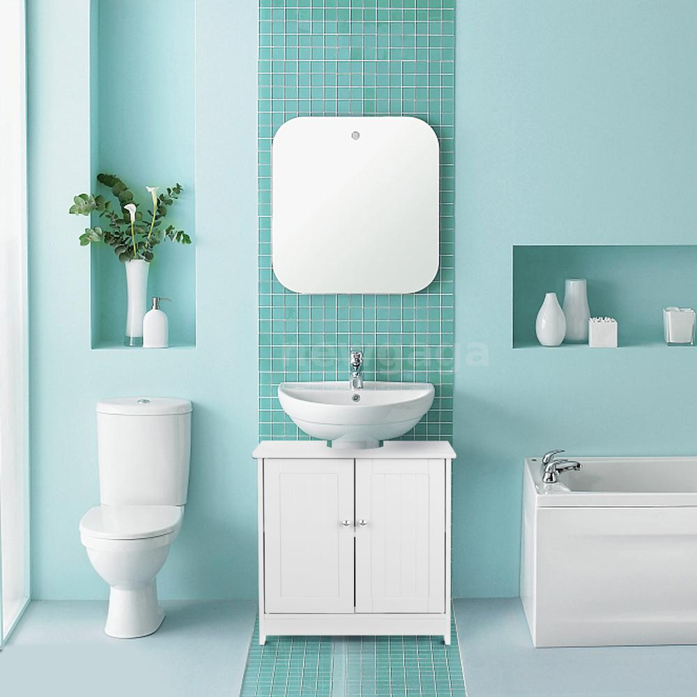 White Under Pedestal Sink Cabinet Vanity Bathroom Storage Cupboard Caddy E2R0