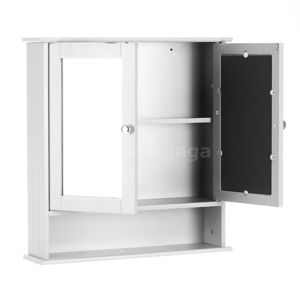 cuisine salle de bain murale armoire double portes en miroir mural blanc c4u5 ebay. Black Bedroom Furniture Sets. Home Design Ideas