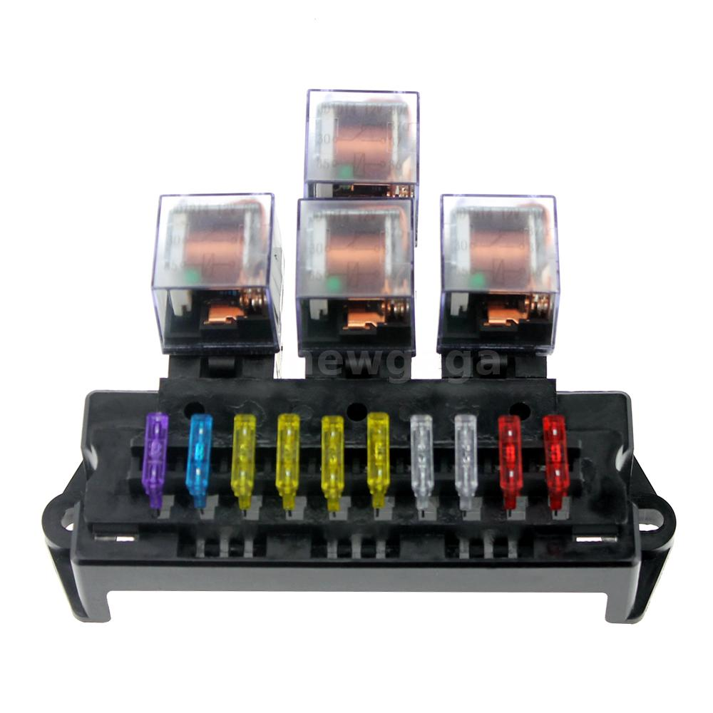 10 way fuse box with 5-pin relay and 13 Pcs standard blade fuses. Universal  for Auto car, SUV, Off-Road, pickup, truck and so on.